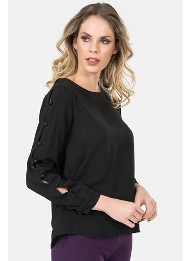 İroni Kol Detaylı Bluz Siyah